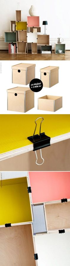 use binder clips to clip boxes together to make a bookshelf