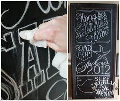 Black Chalk Board Art - creating fun chalkboard art without a projector