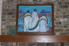 Painting of Desert Women on a window we removed from the house when remodeling.