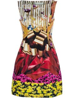I want this dress! Multicolored silk shift dress from Mary Katrantzou featuring a  floral and gift wrap print, a slash neck, a sleeveless fitted top, two side pockets and a side seam at the concealed zip.