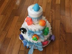 Use ocean animal bath toys to decorate the diaper cake