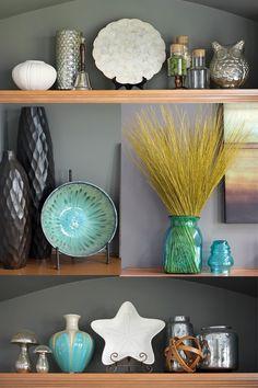 famili room, family room shelves, hallway