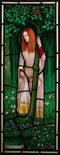 Ophelia Close-Up, Brian Waugh Stained Glass
