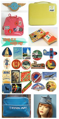 pan am airlines stewardess wings, yellow northeast airlines suitcase, pink juniorteen travel bag, braniff airlines playing cards, vintage luggage travel tags, pan am airlines travel bag, stewardess hat.