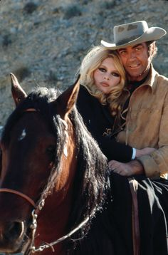 "Bridget Bardo and Scottish cowboy Sean Connery in ""Shalako."" Something so beautiful about her full-on hair and full-on face pushed up against his, with its cockeyed smile, tan as any good cowboy's would be."