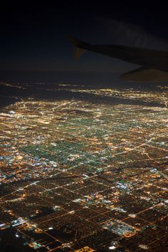Los Angeles City Lights by airplane -- This was always so pretty when we would land at the LA International Airport._#GeorgeTupak
