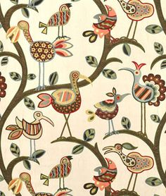 This is so fun!    Swavelle / Mill Creek Crazy Ol Bird Autumn Fabric - $33.5 | onlinefabricstore.net