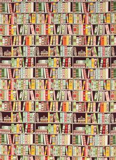 purple Alexander Henry bookshelf fabric with books