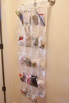 """great idea for storing all your sewing essentials! (or other kinds of essentials!)  Easy to see what you have and out of the reach of """"little helpers"""". :-)"""