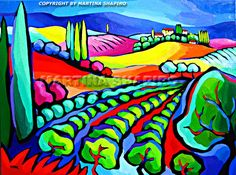 Abstract Vineyard in Toscany painting original oil landscape by Martina Shapiro.