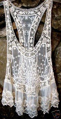 ☮ American Hippie Bohemian Style ~ Boho Summer Floral Ivory Lace Crochet Tank!