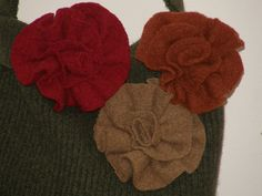 3 D Rusty Copper Beige Red Felted flowers by mcleodhandcraftgifts,