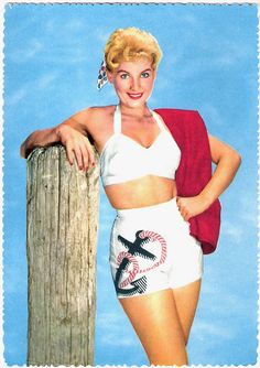Anchors away! #beach #summer #1950s #vintage #swimsuit #nautical