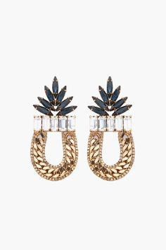 "DANNIJO Amara Earrings (or SSENSE gift certificate for jewelry) - Antique gold tone curb and box chain earrings with blue and clear Swarovski crystal detailing. Post backs. Approx. 2.5"" drop, 1.3"" width. 80% brass, 10% crystal, 10% stone. Made in United States.  $350.00 CAD  $245.00 CAD You Save 30%"