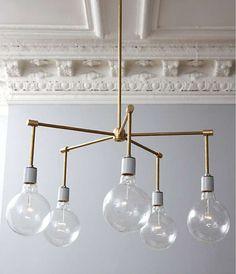 dining rooms, weekend project, diy chandelier, light fixtures, chandeliers, brass chandeli, lamp, diy light, diy projects