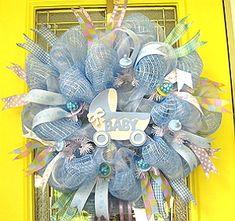Baby Boy Wreath #1-Baby Boy Wreath, Baby, Boy, Wreath, Deco Mesh Wreath, Decomesh