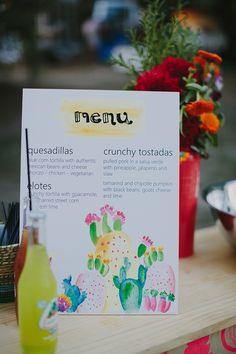 colorful wedding menu, photo by Bek Grace http://ruffledblog.com/gold-coast-backyard-wedding #papergoods