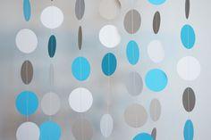 Blue, Gray & White Circle Paper Garland, Wedding, Birthday, Baby Shower, Nursery, 10 feet long. $10.00, via Etsy.