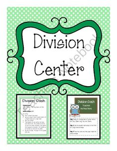 Math Center - Division Center from The Resourceful Teacher on TeachersNotebook.com -  (3 pages)  - This math center is for students to practice division using a deck of cards. Simply print out the page, then glue it on to a file folder or manila folder and place materials inside.