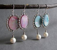 Memoir Earrings - Wire Wrapped Mother of Pearl, Ivory Swarovski Pearl and Silver Dangle Earrings, choice of Dusty Rose Pink or Ceil Blue, chandelier style