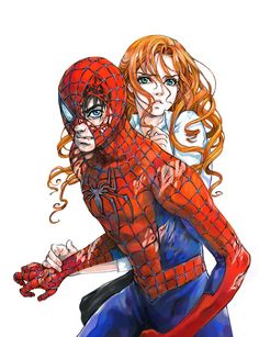Anime Spider-Man and Mary Jane