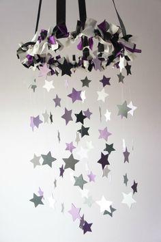 Baby Crib Mobile Stars in Purple Gray Black & by LoveBugLullabies, $55.00