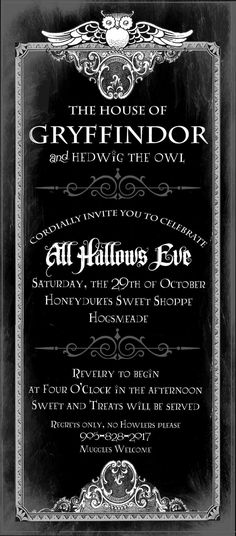 awesome harry potter invite