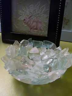 two layer of sea glass into a steel bowl and fire it in the kiln.