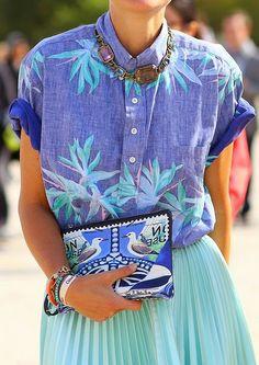 color combos, blue, print denim, flower prints, denim shirts, vacation outfits, aqua skirt