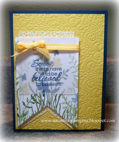 Stampin' Up! Just Believe; Stampin' Supplies; Stamp Set: Just Believe*, Cardstock: Daffodil Delight, Midnight Muse, Vellum, Whisper White, Floral District DSP*; Ink: Daffodil Delight, Gumball Green, Midnight Muse; Accessories: Daffodil Delight Stitched Grosgrain Ribbon, Lacy Brocade Embossing Folder*  *'Stampin' Up! Items retired