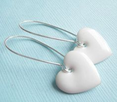 Heart Earrings Silver Valentine Jewelry White