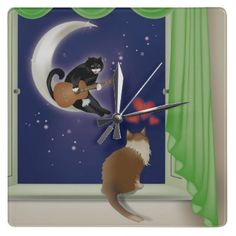Serenade Cat Wall Clock by crazycolors • http://www.zazzle.com/serenade_cat_wall_clock-256035415171409442?gl=crazycolors=238953324715067423
