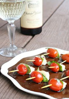 The Long Summer Caprese Bites: Tomato, Basil, and Mozzarella bites with Balsamic Vinegar.
