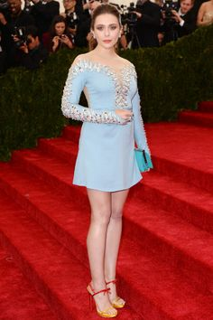 Elizabeth Olsen wore top-to-toe Miu Miu.