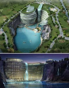 Futuristic Fantasy Hotels: 14 Wild Concept Designs (Mimicking a waterfall at the edge of a quarry, the Waterworld Hotel won first prize in an international design competition for Songjiang, China. Practically a self-contained city, the 400-bed resort hotel features cafes, restaurants, swimming pools, shopping and sporting facilities. It even offers activities that take advantage of the unique landscape, like rock climbing and bungee jumping.)