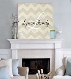 Family Monogram Applied to Painted Chevron Decor Wood Board