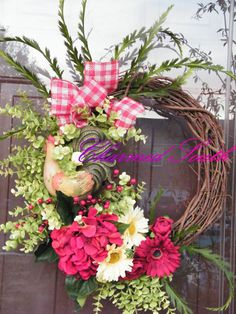 Grapevine Rooster Floral Wreath by CharmedSouth on Etsy
