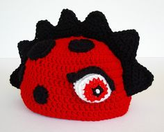 Dragon Dinosaur Crochet Hat Red with Black Spots Spikes. $26.00, via Etsy.