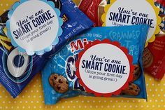 "For those of you who can't take homemade treats to school...""One Smart Cookie"" snacks would be cute! :)"