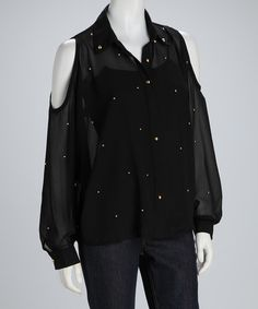 Take a look at this Black Sheer Cutout Button-Up Top by Meetu Magic on #zulily today!