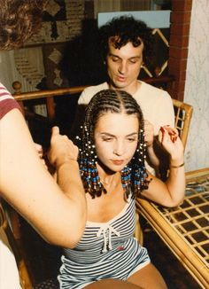 My Dad braiding Mom'