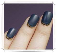 manicure navy, gold nails, revers french, french manicures, gold french manicure, nail designs, manicure french gold, black and gold nail polish, blue nails