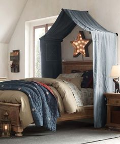 driftwood above bed