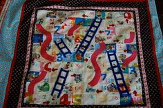 Snakes & Ladders quilt - c. 2011; games, gameboard, play, children, quilting, chutes and ladders
