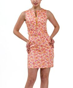 Look at this #zulilyfind! Pink Geometric Belted Sleeveless Dress - Petite by Amelia #zulilyfinds