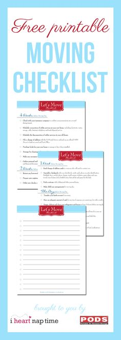 FREE printable moving check list! Pin now, save for later!