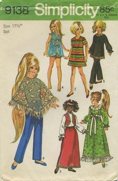 Vintage Doll Clothes Sewing Pattern | Wardrobe Suitable for Teen Dolls such as Velvet and Beautiful Crissy | Simplicity 9138 | Year 1970 | Doll Size 17½""