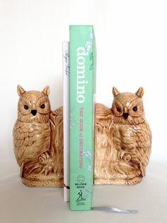 Vintage Owl Bookends - Ceramic Owls.