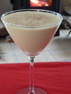 Yum! Can't wait to spend the holidays with this Kahlua Eggnog Latte Martini!