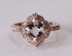 NEW DESIGN!Vintage Morganite and Diamond Ring /Morganite ring/Morganite engagement ring/aquamarine/morganite/Moissanite /Engagement Ring on Etsy, $549.00